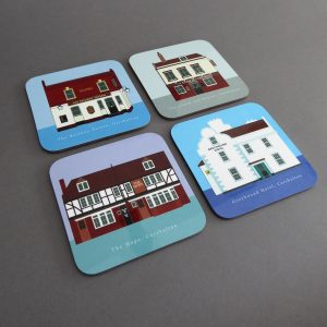 four mixed coasters