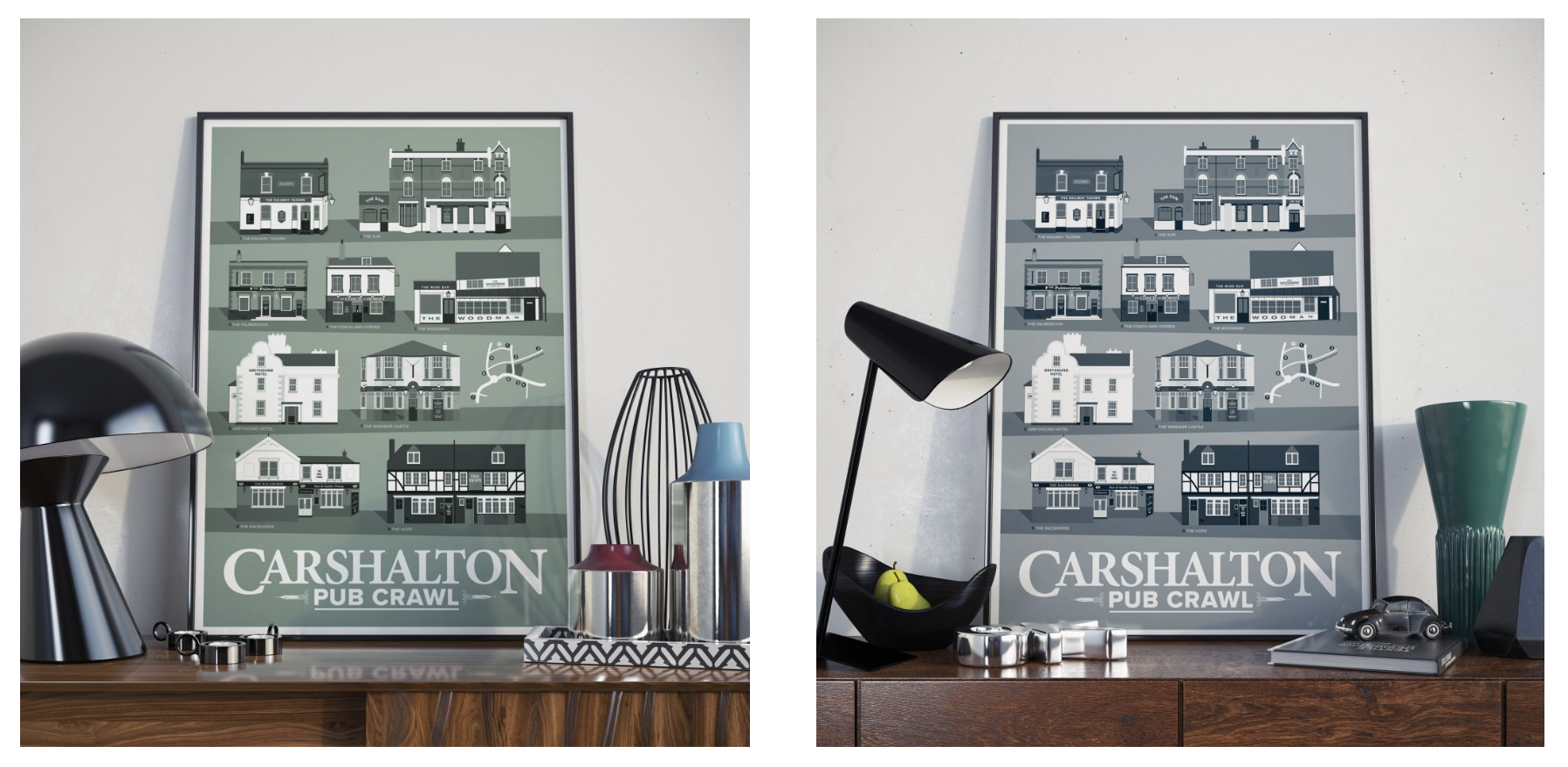 Grey and Green Carshalton Posters