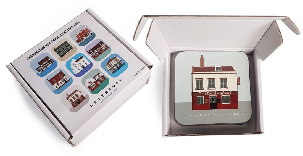 coasters in packaging box