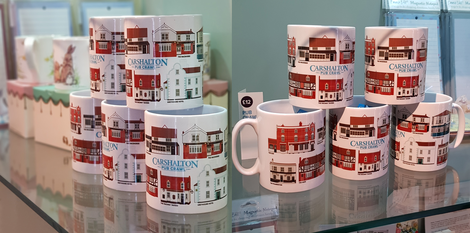 Pub mugs in gift shop