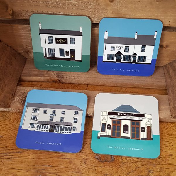 Radway, Swan Inn, Dukes, The Marine pub coasters