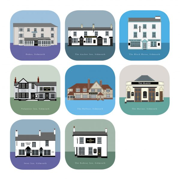 Sidmouth Coasters x8 Full set