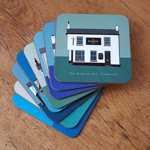 Sidmouth pub crawl coasters in pile