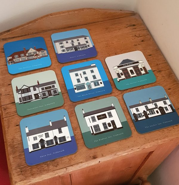 Sidmouth Pub Coasters on Table