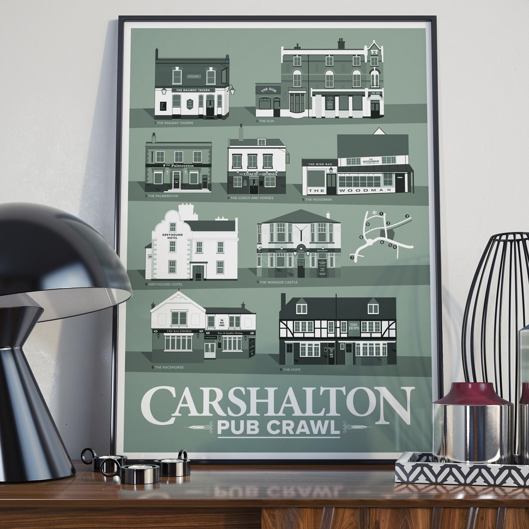 Green A2 Carshalton Pub Poster