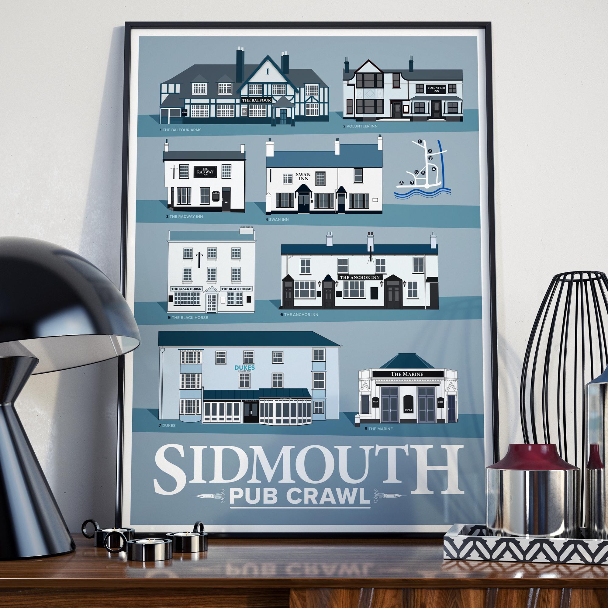 Sidmouth Pub Crawl Black Frame