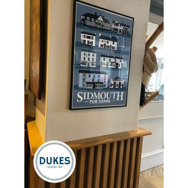 Sidmouth Pub Poster on wall in Dukes
