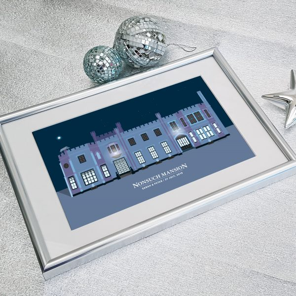 Nonsuch Mansion Grey in Silver Frame
