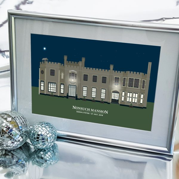 Nonsuch Mansion Green in Silver Frame
