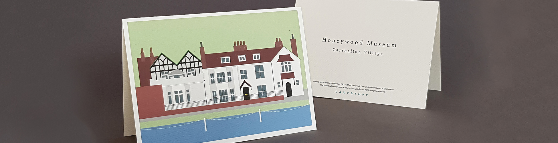 Honeywood Museum Greeting card back and front