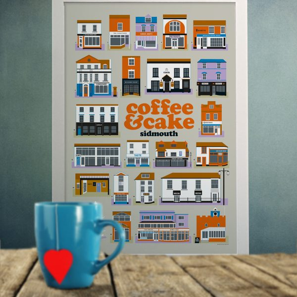 Sidmouth Coffee & Cake poster with mug