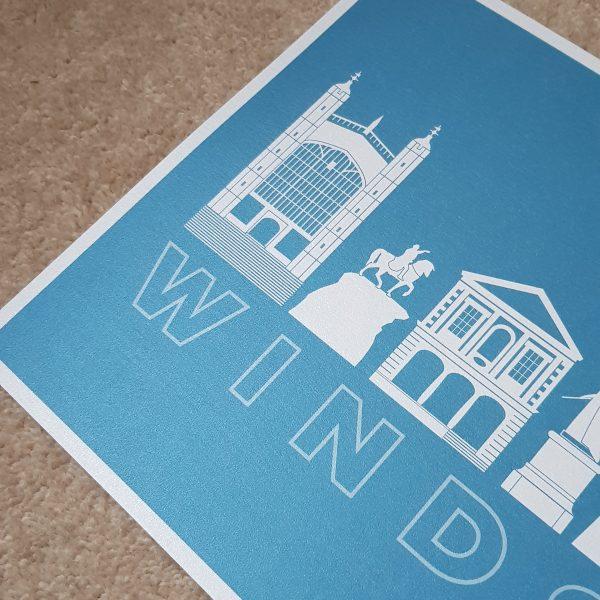 A4 Blue Windsor Landmarks Quality Print