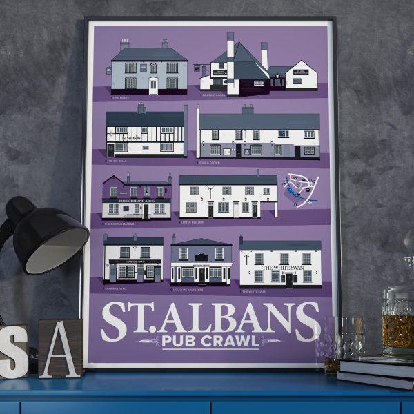 St Albans Pub Crawl Poster Purple 2020