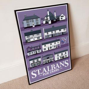 St.Albans Pub Poster Framed