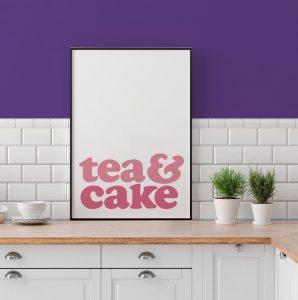 Tea & Cake Typographic Poster