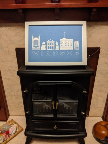 A4 Windsor Landmarks Silhouette Metallic Blue Print photo review