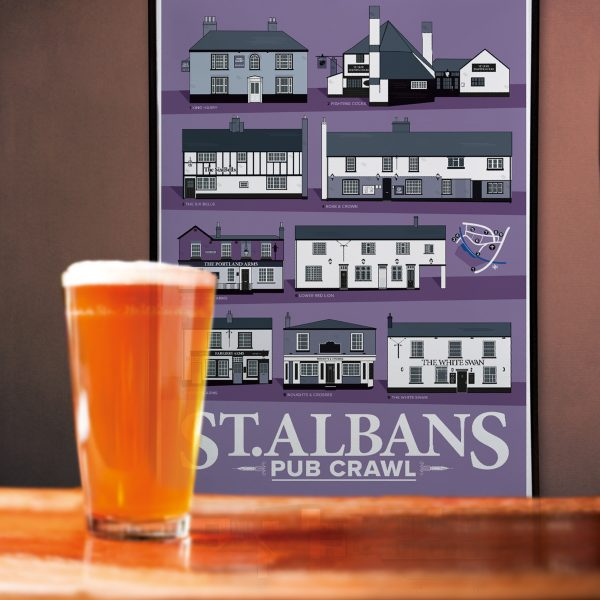 St Albans Pub Crawl Poster with a beer in front