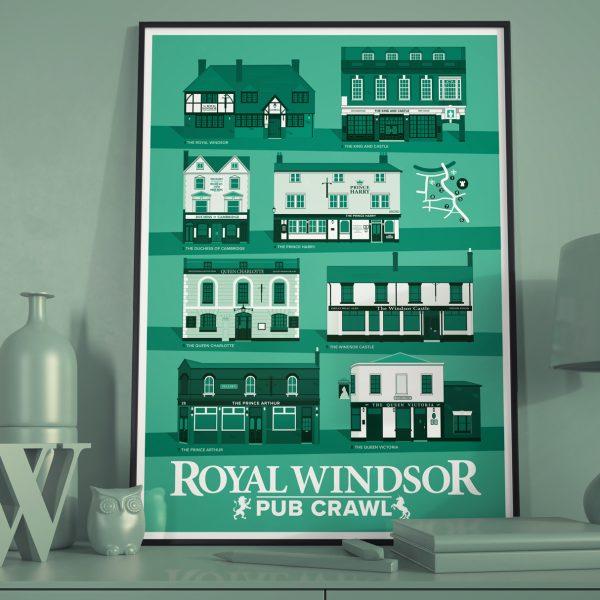 Windsor Jade Green Pub Crawl Print