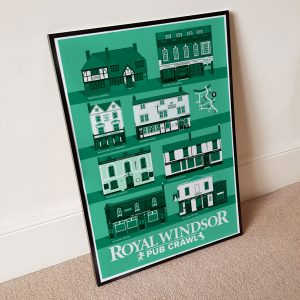 Framed Windsor Pub Crawl Print Jade against wall