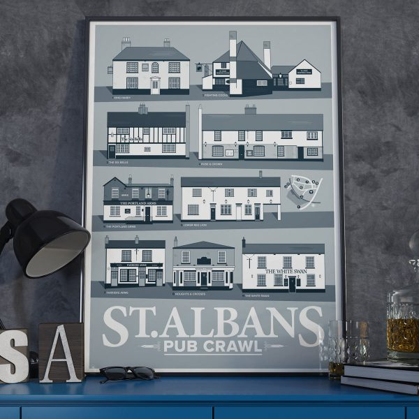 Framed St Albans Pub Crawl Poster in Cool Grey 2020