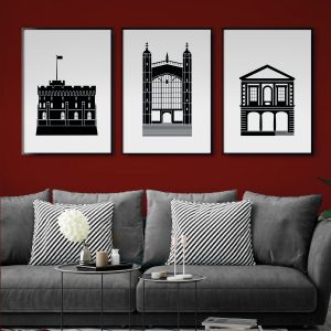Set of 3 Black and White Windsor Posters on the wall