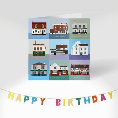 Carshalton Pub Crawl Greeting Card with Birthday banner