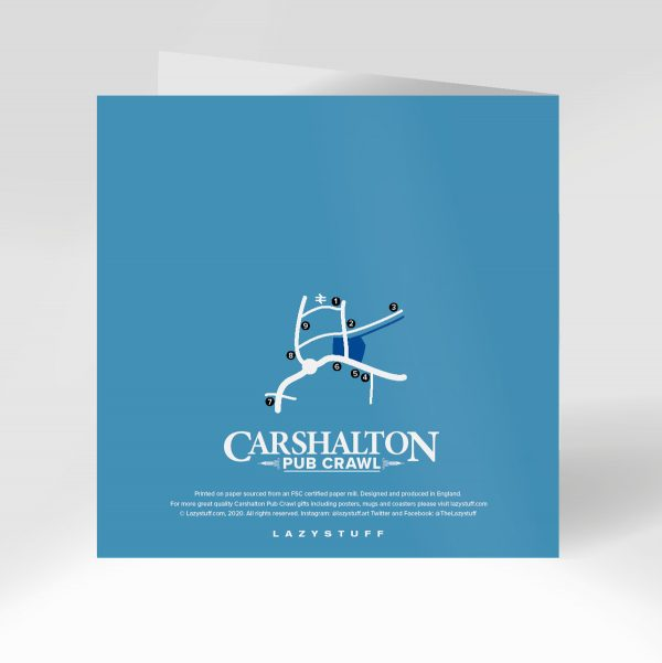 Carshalton Pub Crawl Greeting Card Reverse