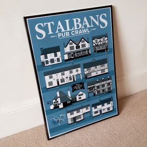 Oldest Pub St Albans Pub Crawl Poster Cool Grey