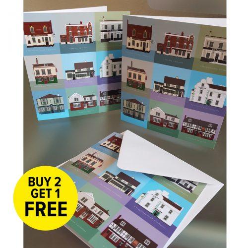 Set of 3 Carshalton cards
