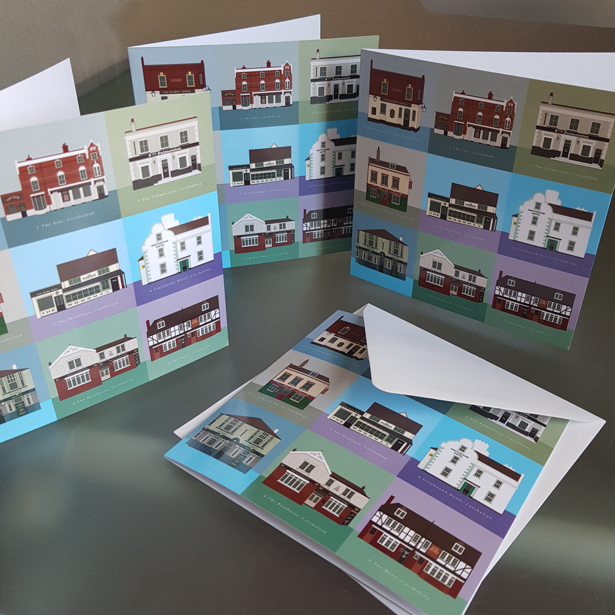 Set of 4 Carshalton cards