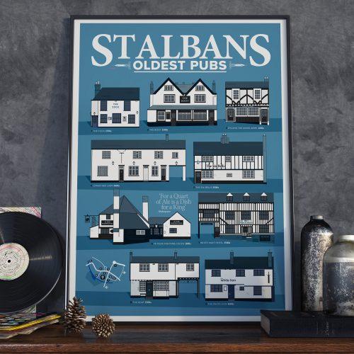Oldest Pub St Albans Pubs Poster Blue