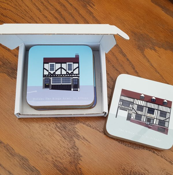 St Albans Oldest Pubs Coasters Inside Box