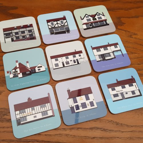 St Albans Oldest Pubs Coasters full set on table