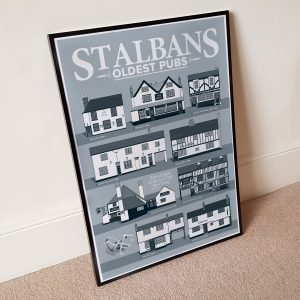 Oldest Pub St Albans Pub Poster Cool Grey