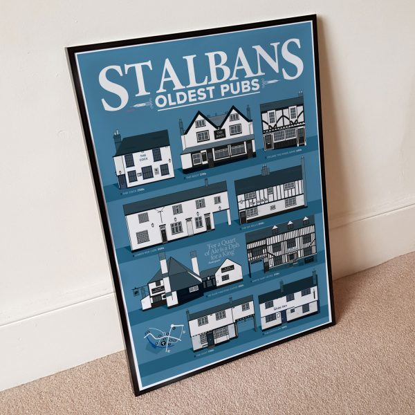 Oldest Pub St Albans Pubs Poster Blue