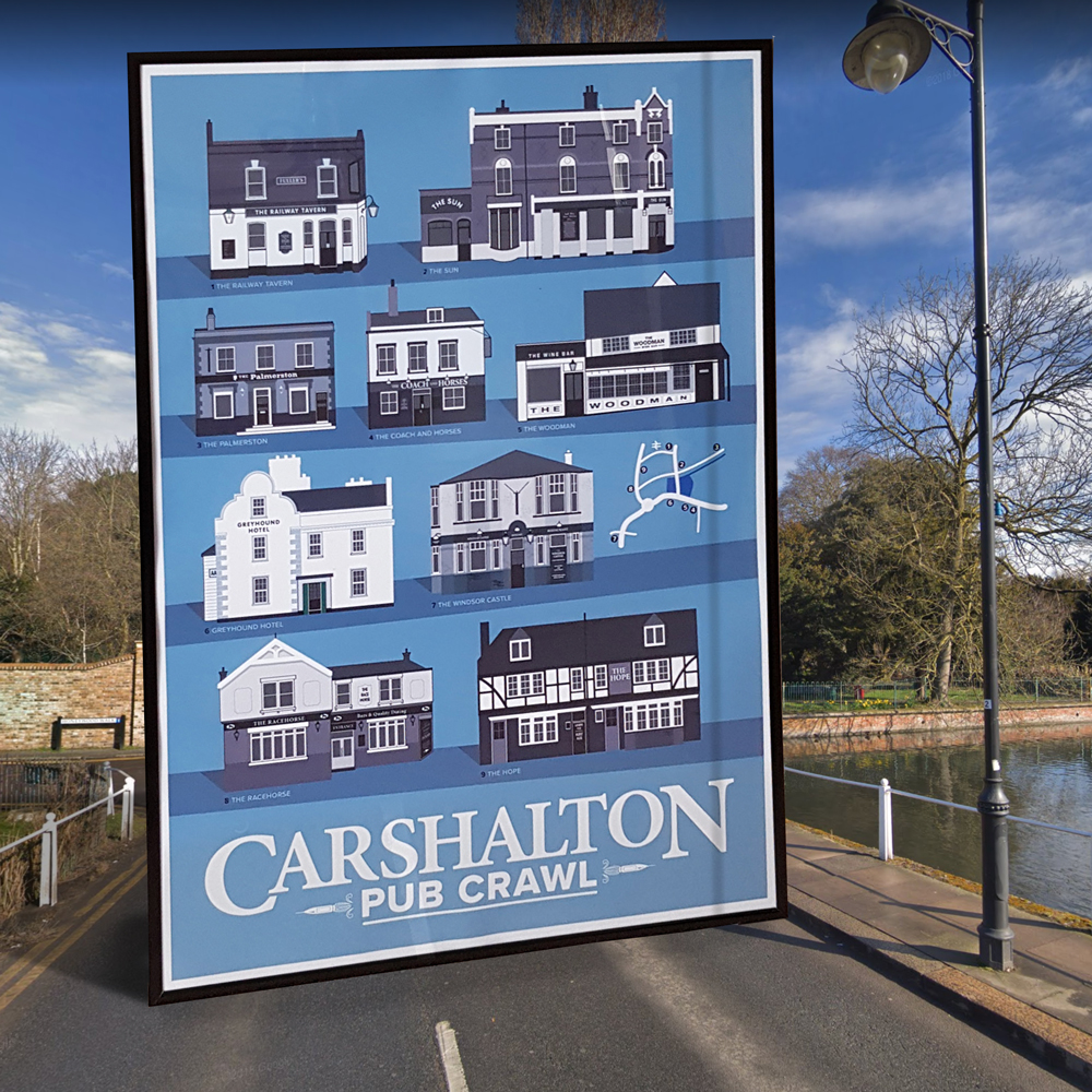 Carshalton Pub Crawl poster at the ponds