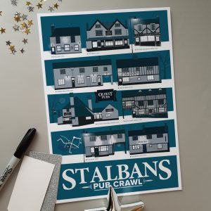 Limited Edition St Albans Pub Poster Winter A4