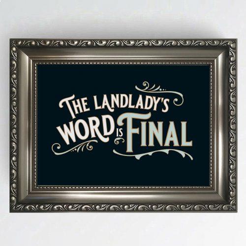 Antique Pub Sign Landlady