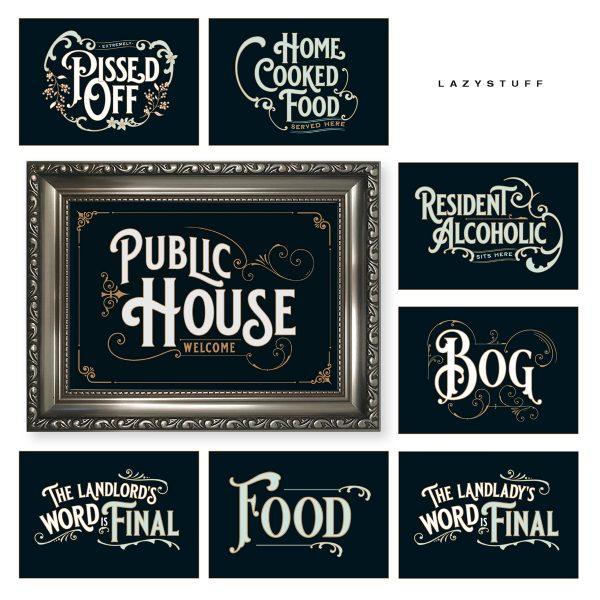 Antique Pub Sign Public House