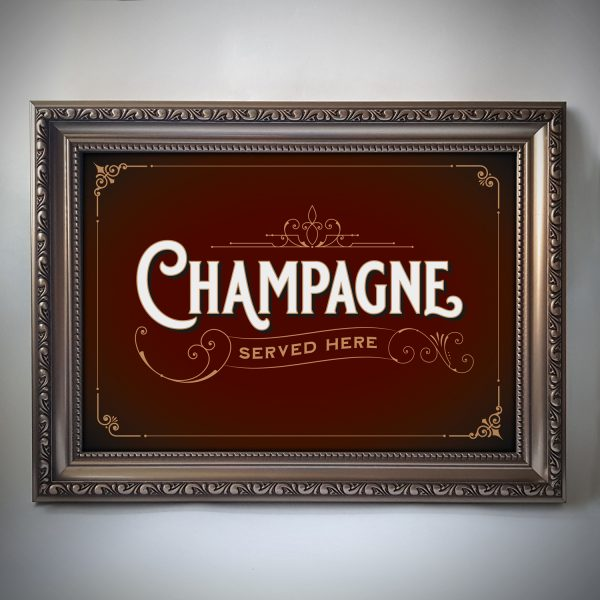 Champagne Print Red Gold