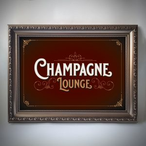 Champagne Lounge Print Red Gold