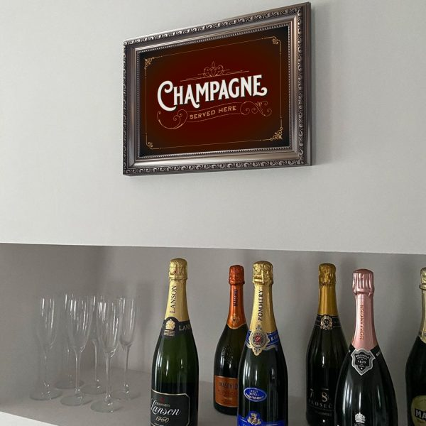 Champagne poster print on wall