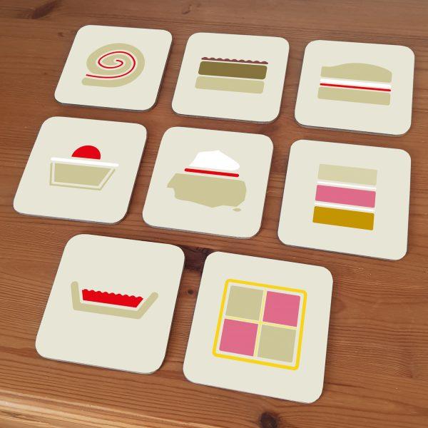 8 cake coasters geometric