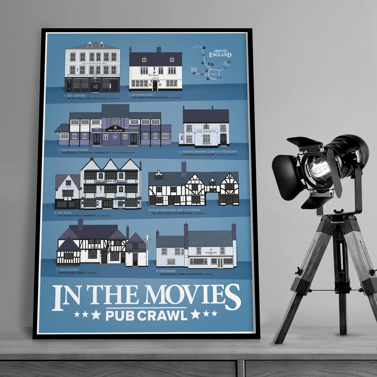 Pubs In Movie Print Blue with spotlight