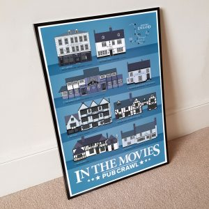 In The Movies Pub Crawl Poster In A2 Black Frame