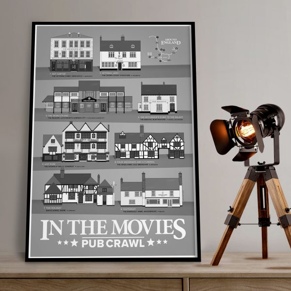 In The Movies Pub Crawl Poster Grey In A2 Black Frame