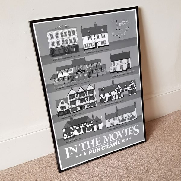 In The Movies Pub Crawl Poster Grey Wall