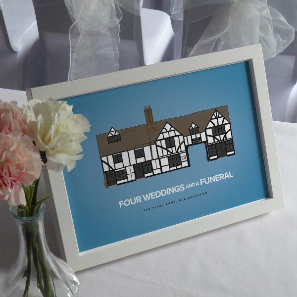Four weddings and a funeral pub crawl print framed