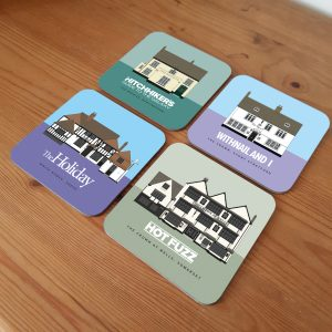 Pub In Movies coasters on table