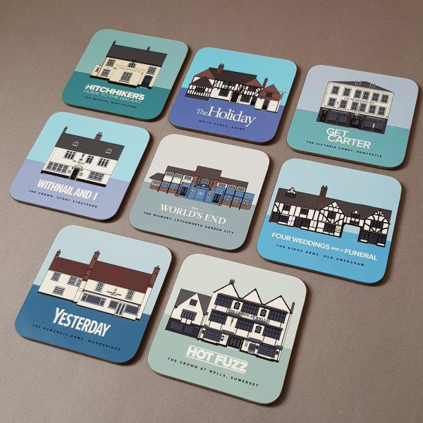 Pubs in Films coasters group